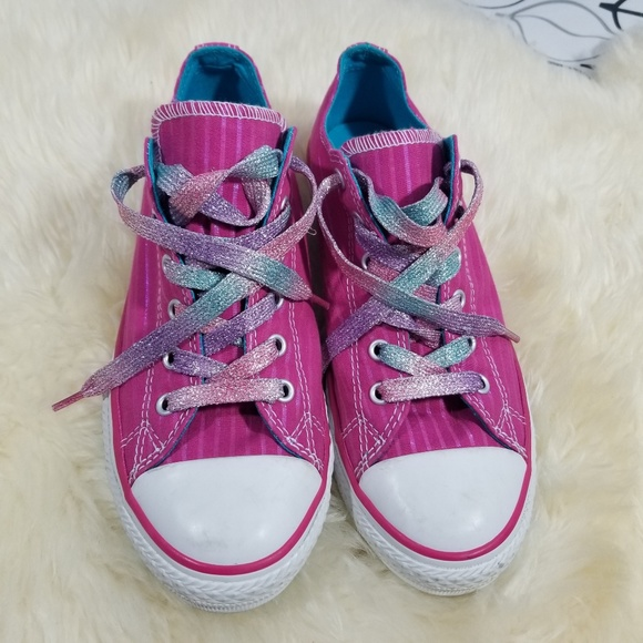 ac2928e1f07e Converse Shoes - Converse Pink Pinstriped Sparkle Lace Chuck Taylor